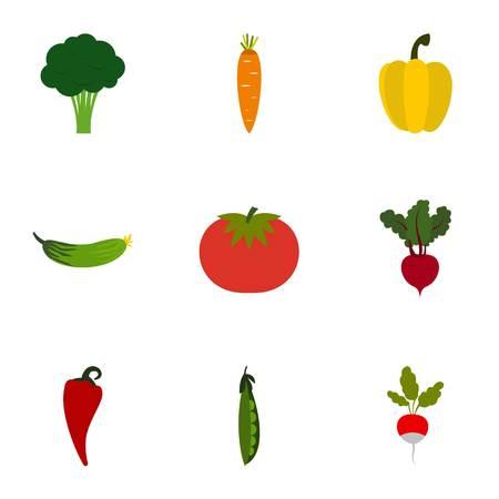Vegetables icons set, flat style