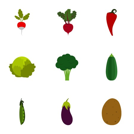 Types of vegetables icons set, flat style Stock Photo