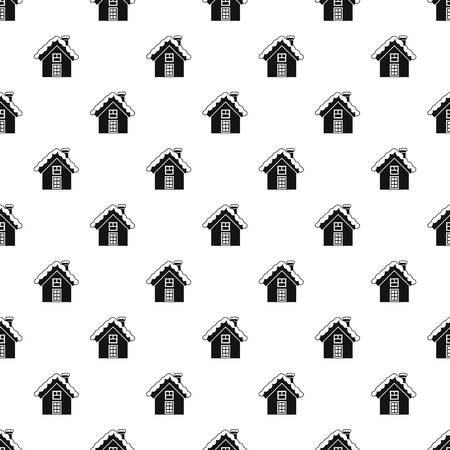 Snowy cottage pattern, simple style