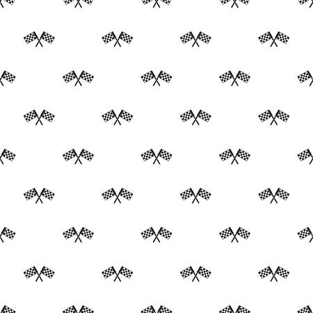 Crossed chequered flags pattern, simple style Stock Photo