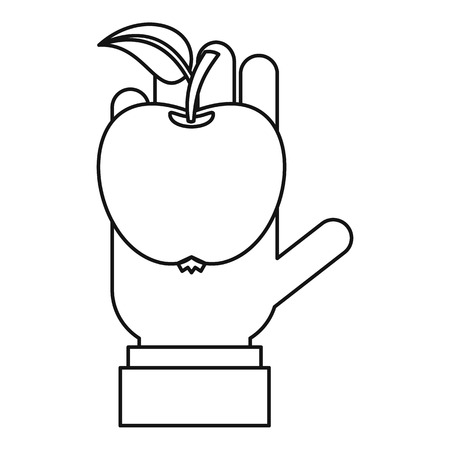 Apple in hand icon, outline style Stok Fotoğraf - 107042404