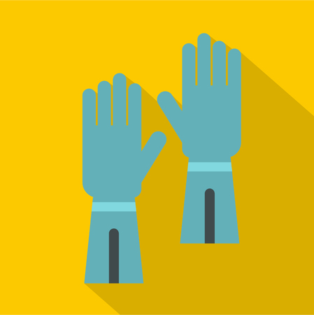 Rubber gloves for hand protection icon, flat style Stock Photo