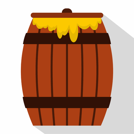 Honey keg icon, flat style