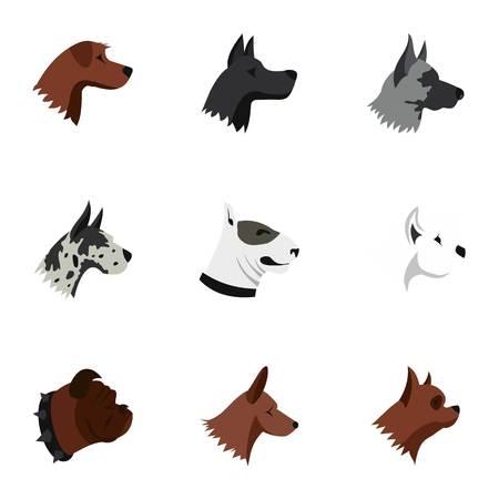 Dog icons set, flat style