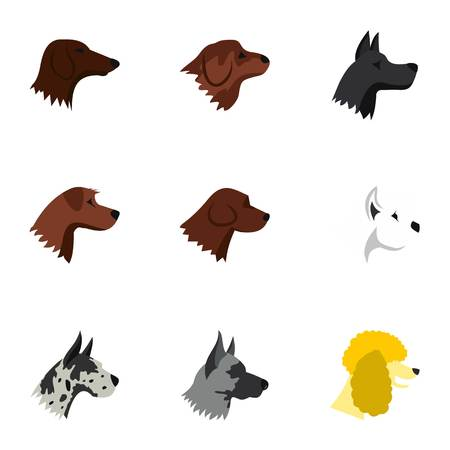 Types of dogs icons set, flat style