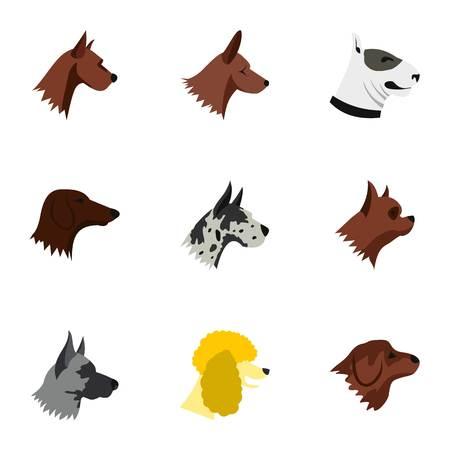 Doggy icons set, flat style Stock Photo