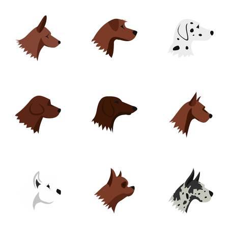 Faithful friend dog icons set, flat style