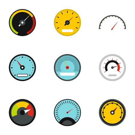 Speedometer for transport icons set, flat style