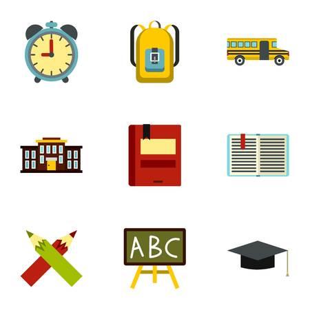Children education icons set, flat style