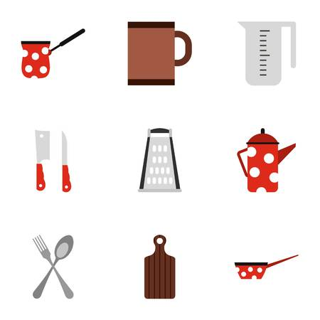 Kitchenware icons set, flat style Foto de archivo