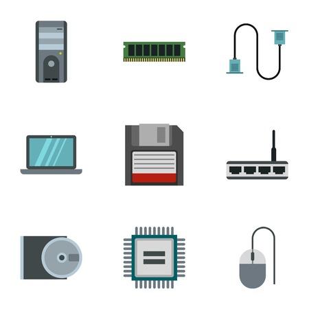 Computer repair icons set, flat style 写真素材