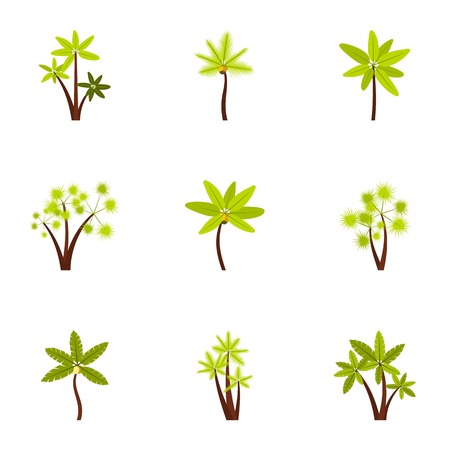 Different palm icons set, flat style
