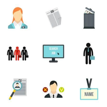 Staffing agency icons set, flat style
