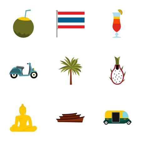 Thailand icons set, flat style