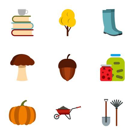 Autumn coming icons set, flat style