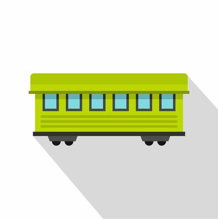 Passenger train car icon, flat style