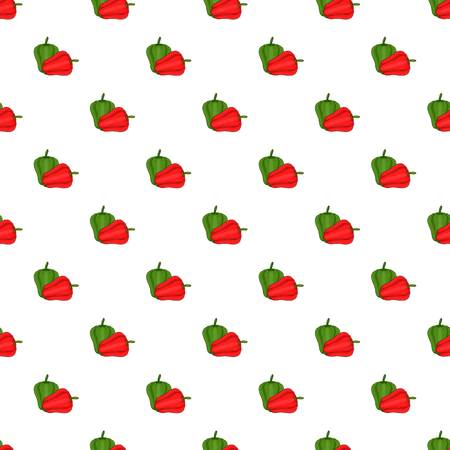 Red and green sweet pepper pattern, cartoon style
