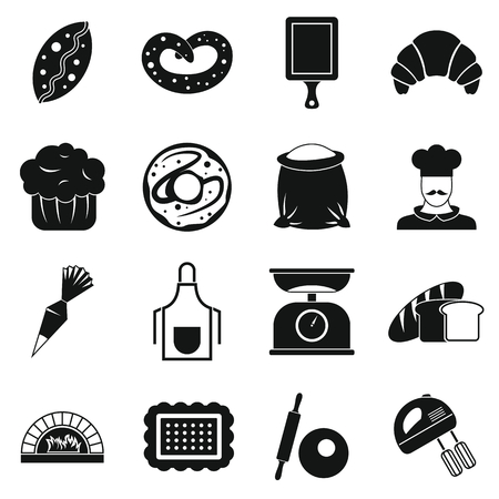 Bakery icons set, simple style Stockfoto - 106986681