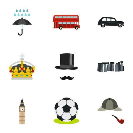 United Kingdom icons set, flat style