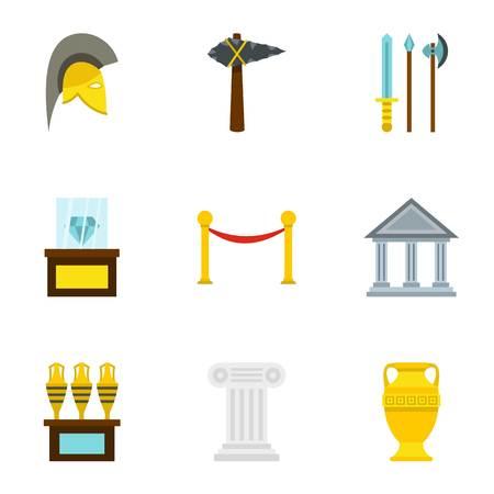 Museum icons set, flat style Foto de archivo - 106979610