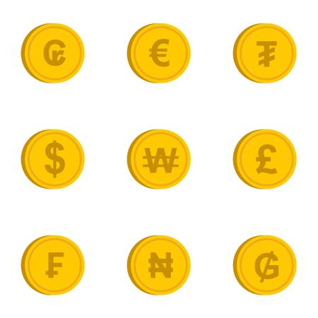 Money of countries icons set, flat style Stock fotó
