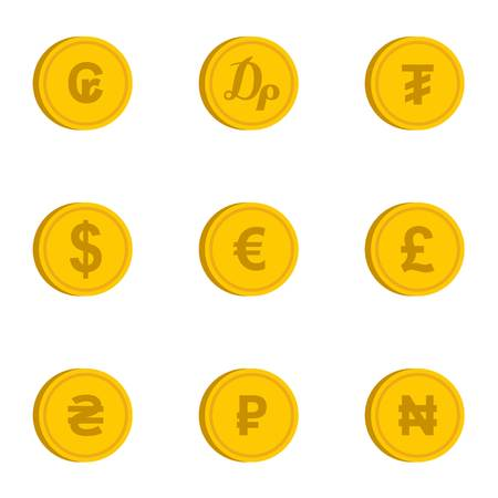 Currency icons set, flat style