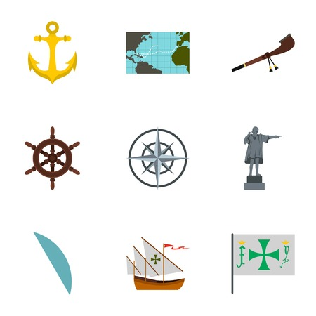 Discovery of America icons set, flat style