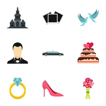 Marriage icons set, flat style