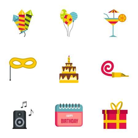 Birthday party icons set, flat style Stock Photo