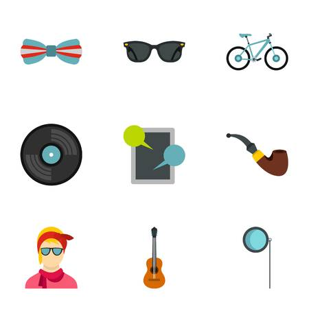 Subculture hipsters icons set, flat style Foto de archivo