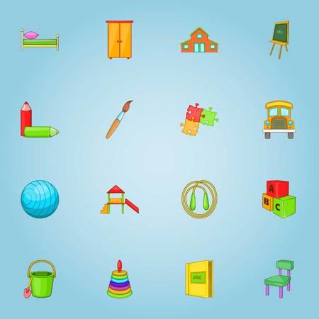 Kindergarten icons set, cartoon style 스톡 콘텐츠