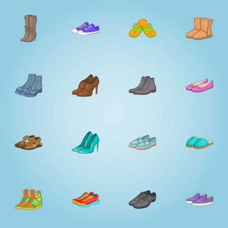 Shoes icons set, cartoon style Stock Photo