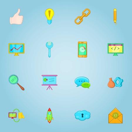 SEO optimization icons set, cartoon style