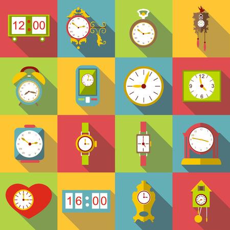 Different clocks icons set, flat style