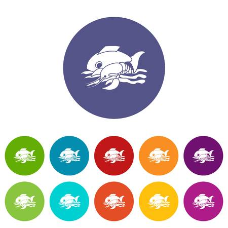 Sea food icons set vector color