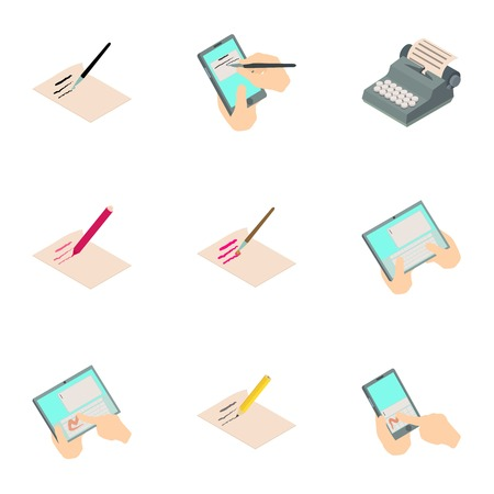 Write a book icons set. Isometric set of 9 write a book vector icons for web isolated on white background