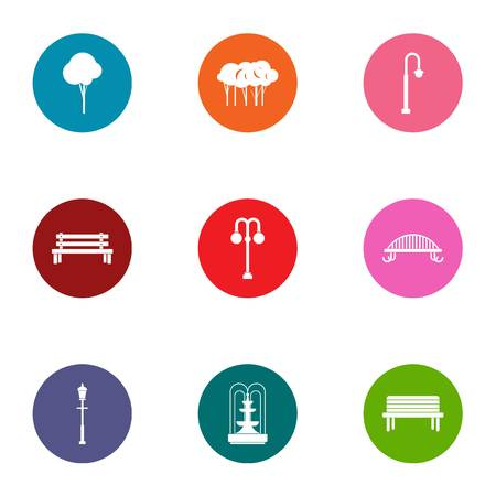Parkland space icons set. Flat set of 9 parkland space vector icons for web isolated on white background Ilustração