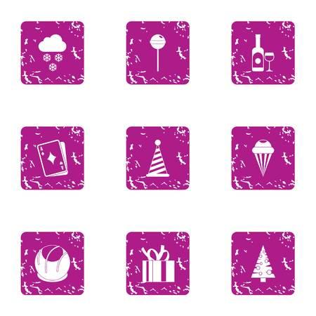 Elation icons set. Grunge set of 9 elation vector icons for web isolated on white background Ilustração