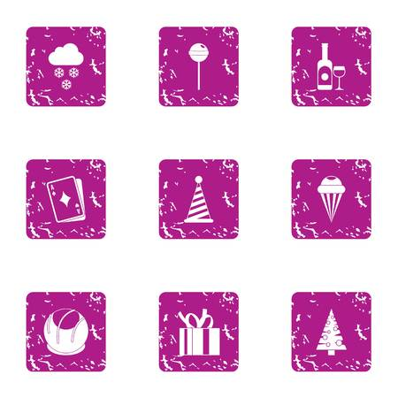Elation icons set. Grunge set of 9 elation vector icons for web isolated on white background Illustration