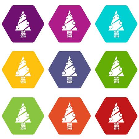 Modern christmas tree icons set 9 vector