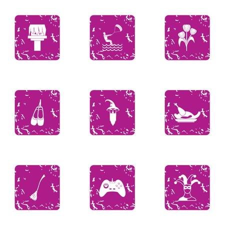 Absent mindedness icons set. Grunge set of 9 absent mindedness vector icons for web isolated on white background