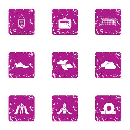 Field of entertainment icons set. Grunge set of 9 field of entertainment vector icons for web isolated on white background
