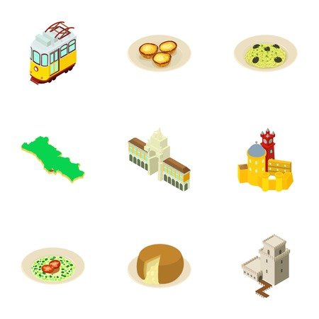 Townlet icons set. Isometric set of 9 townlet vector icons for web isolated on white background