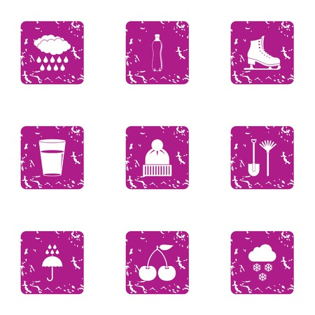 Thaw icons set. Grunge set of 9 thaw vector icons for web isolated on white background 일러스트