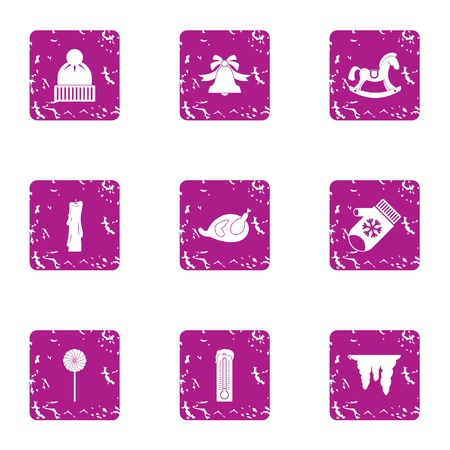 Winter hilarity icons set. Grunge set of 9 winter hilarity vector icons for web isolated on white background