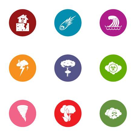 Affliction icons set. Flat set of 9 affliction vector icons for web isolated on white background