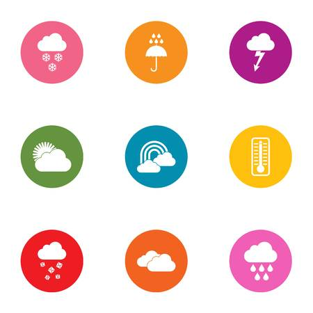Downpour icons set. Flat set of 9 downpour vector icons for web isolated on white background Ilustração