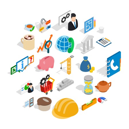 Commerce icons set. Isometric set of 25 commerce vector icons for web isolated on white background