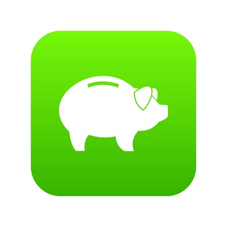 Piggy icon digital green for any design isolated on white vector illustration Illustration