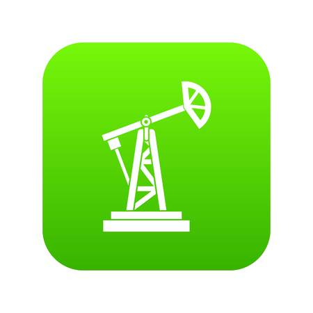 Oil rig icon digital green